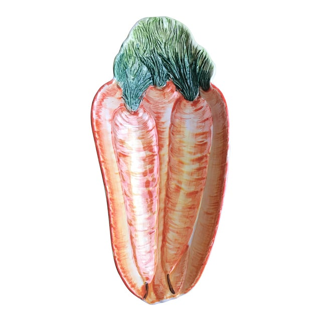 Italian Hand Painted Olfaire Carrot Shaped Serving Dish For Sale