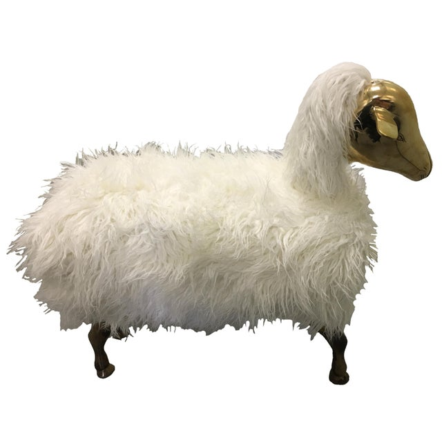 Brass and Faux Lambswool Sheep Footstool - Image 8 of 8