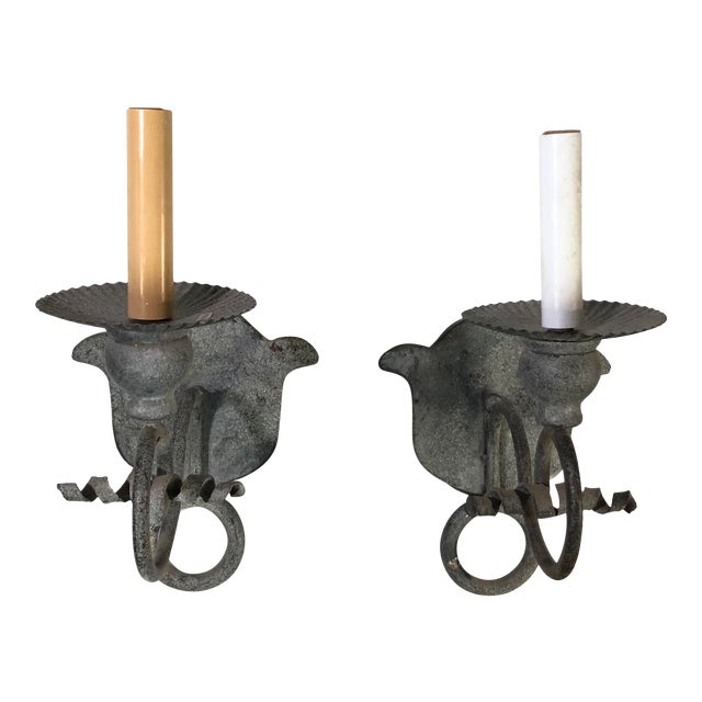 Niermann Weeks French Iron One Arm Wall Sconces - Set of 2 For Sale