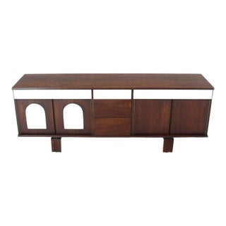 Two-Tone White Lacquer Oiled Walnut Low Long Credenza Dresser Cabinet For Sale