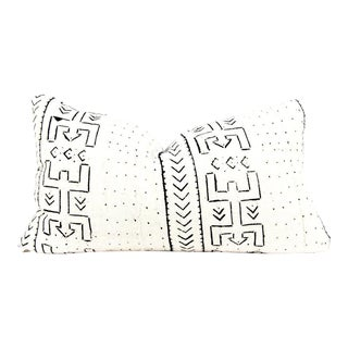 Wild Ivory Abstact Tribal Mudcloth Small Lumbar Pillow For Sale