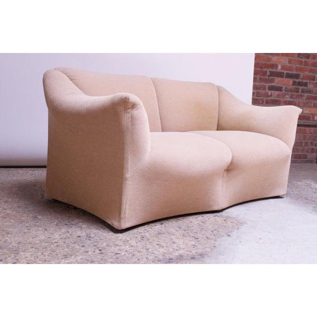 """Early 1970s Mario Bellini for Cassina """"Tentazione"""" 2-seat sofa / loveseat (Model #685) in original pale peach cotton..."""