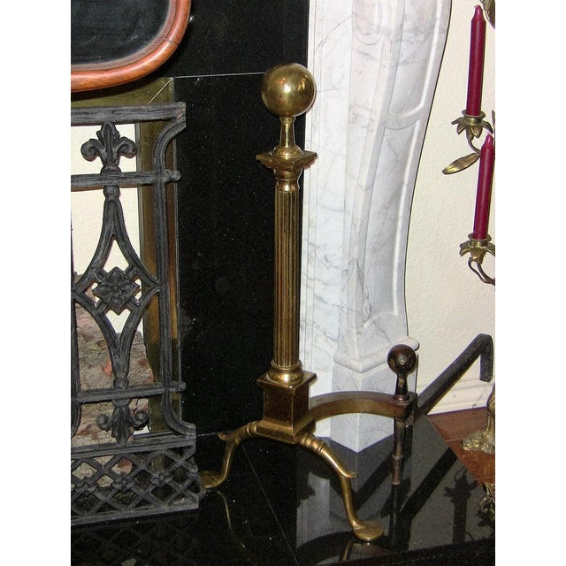Metal 19c Philadelphia Brass Andirons With Roman Columns and Ball Finials- a Pair For Sale - Image 7 of 9
