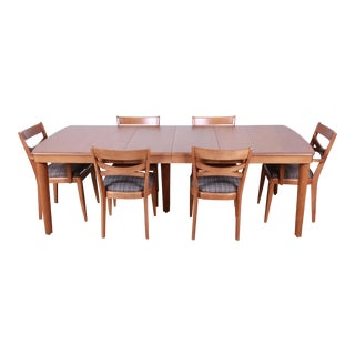 Heywood Wakefield Mid-Century Modern Extension Dining Table & Chairs For Sale