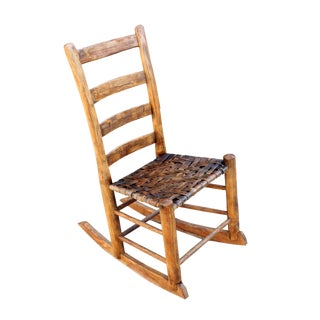 Late 19th Century Antique Rustic Wood & Rattan Accent Rocking Chair For Sale