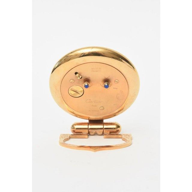 Gold Cartier 24 Karat Gold Plated Travel Quartz Desk Clock/ Desk Accessory For Sale - Image 8 of 11
