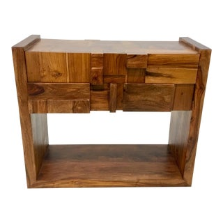 Mid-Century Modern Brutalist Style Global Views Wood Building Block Table For Sale