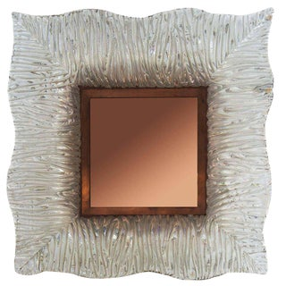 Roberto Giulio Rida, Mirrors With Venini Glass and Cooper Frame For Sale