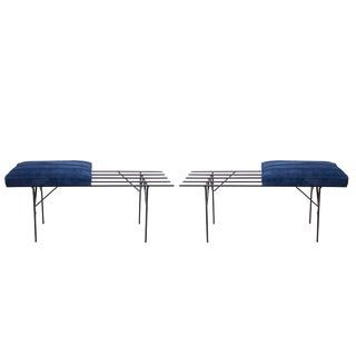 Iron and Suede Slat Benches - A Pair For Sale