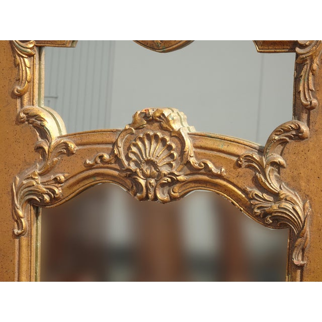Wood 1950s Vintage French Provincial Gold Wall Mantle Mirror For Sale - Image 7 of 13