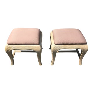 Pair of Crespi Inspired Ottomans/Footstools For Sale