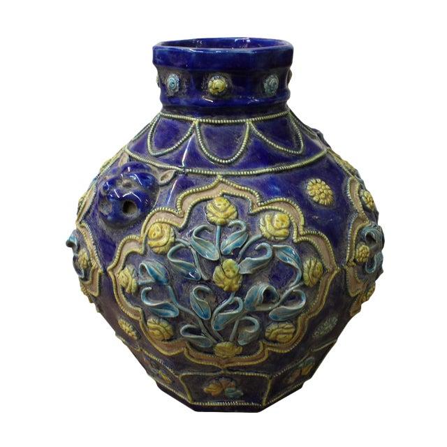 Handmade Ceramic Navy Blue Dimensional Flower Vase For Sale