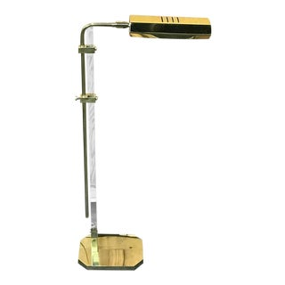 Single Mid-Century Modern Cedric Hartman Style Brass and Lucite Floor Lamp For Sale