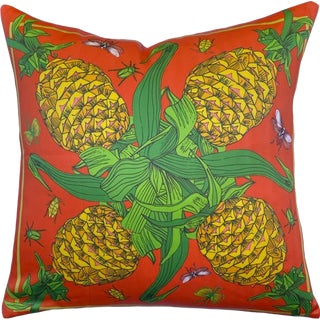 "Pineapple & Bugs Burnt Orange Silk 22"" Pillow For Sale"