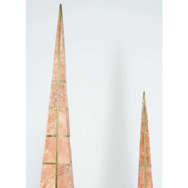 Bronze Pair of Bronze Inlay and Stone Obelisks by Casa Bique For Sale - Image 7 of 10