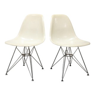 Vintage Mid Century Herman Miller Eames Eiffel Base Parchment Fiberglass Shell Chairs- A Pair For Sale