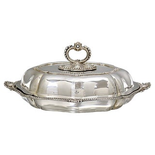 Heavy Silver-Plate Tureen W/Coat-Of Arms For Sale