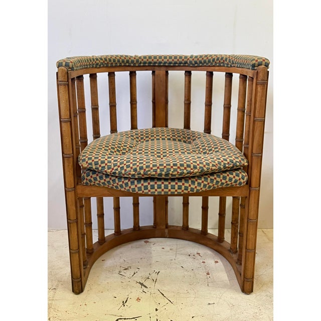 Vintage Set of 4 Bamboo Barrel Back Game Chairs For Sale In Atlanta - Image 6 of 13
