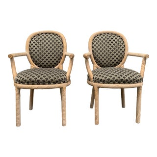 1970s Vintage Marcello Mioni Faux Bois or Tassle Armchairs- A Pair For Sale