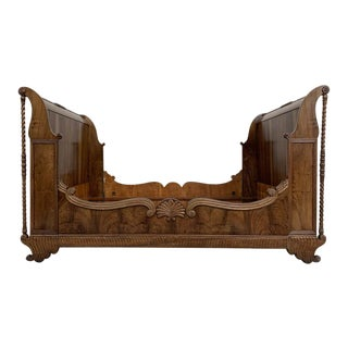Carved Walnut Neoclassical Full Size Bed Frame, 20th Century For Sale