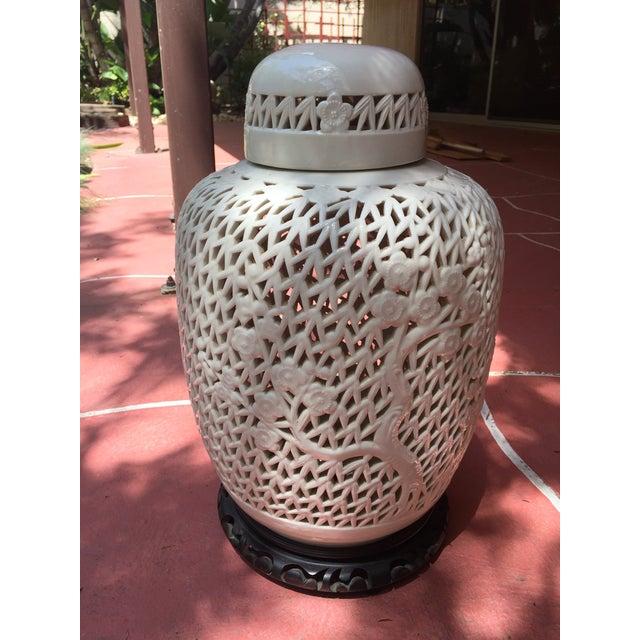 White Porcelain Pierced Design Ginger Jar - Image 4 of 6