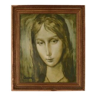 1964 Portrait of a Girl Oil Painting by Steve Chudova, Framed For Sale
