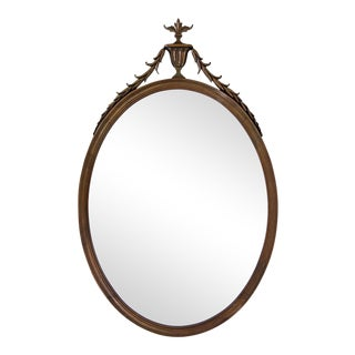 Large Oval Mirror with Urn & Swag Crest