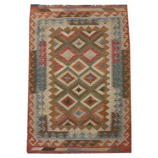 Southwestern Multicolored Small Geometric Hand Woven Carpet - 3' 5 X 5' 1 For Sale