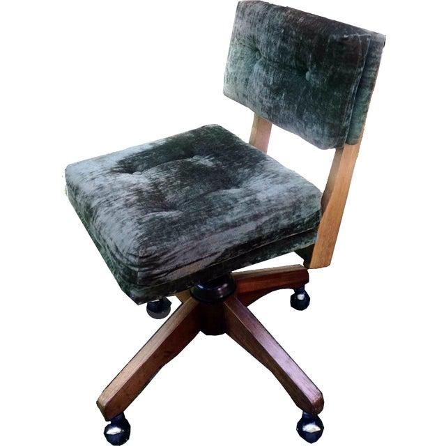Mid-Century Green Velvet Swivel Chair - Image 1 of 10