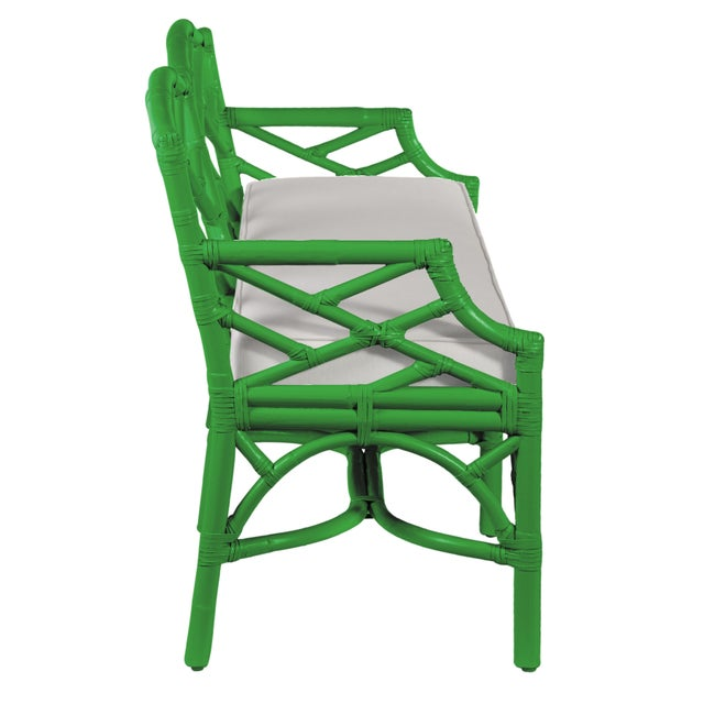 David Francis Chippendale Bench - Bright Green For Sale - Image 4 of 6
