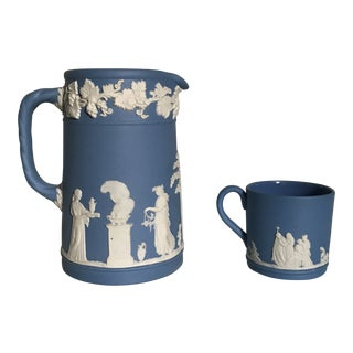 Wedgwood Blue Jasperware Pitcher and Cup For Sale