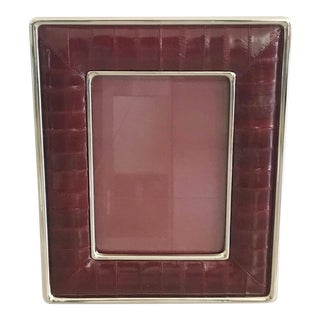 Burgundy Leather Photo Frame by Fabio Ltd For Sale