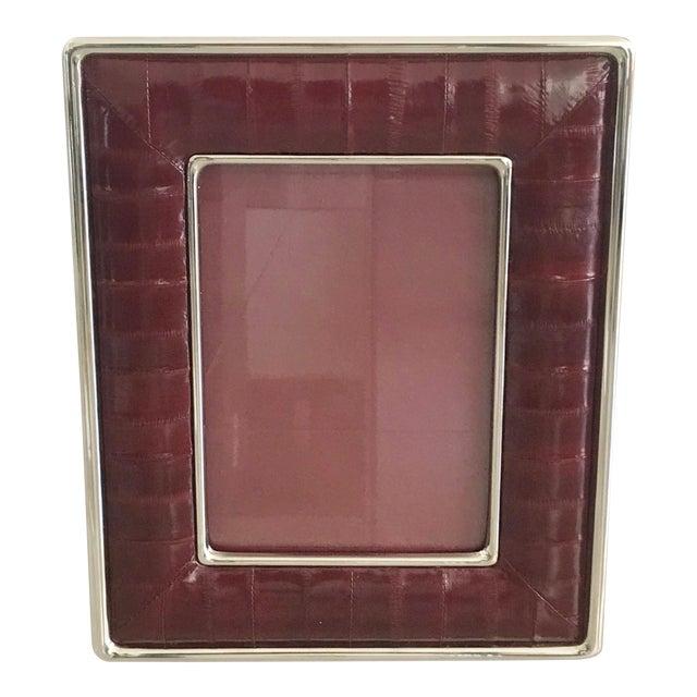 Burgundy Leather Photo Frame by Fabio Ltd For Sale