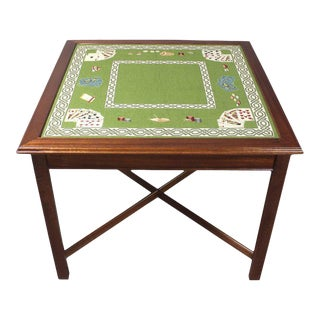 Needlepoint Top Card Table For Sale