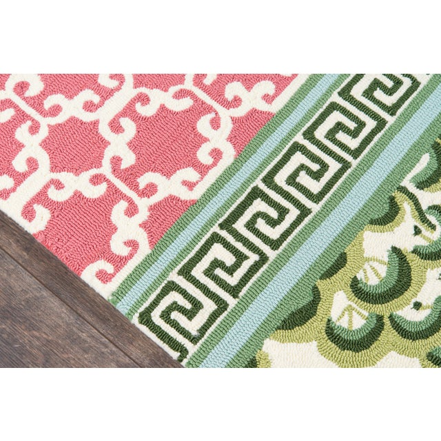 """Contemporary Madcap Cottage Under a Loggia Montserrat Pink Indoor/Outdoor Area Rug 2'3"""" X 8' Runner For Sale - Image 3 of 7"""