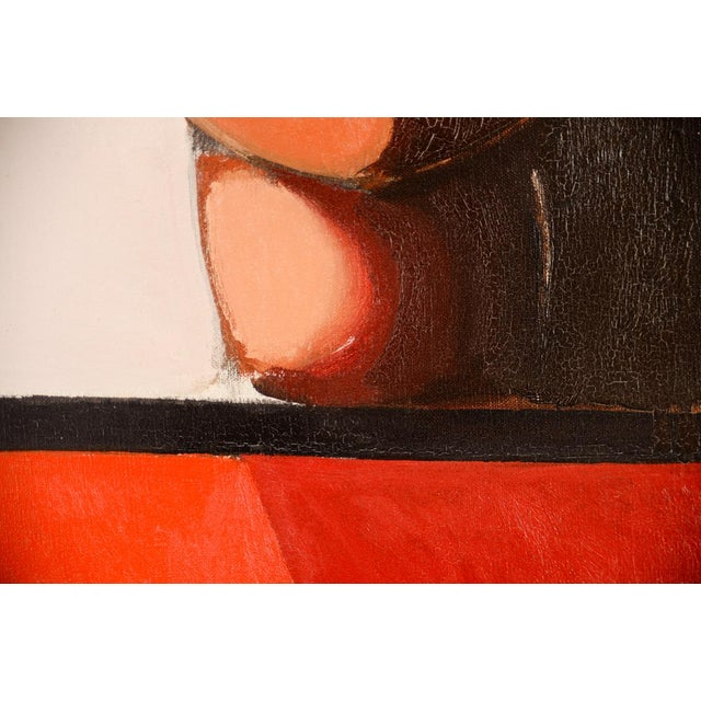 Red Antonio Guanse 'Abstract Face by the Window' Oil Painting -1960s For Sale - Image 8 of 10