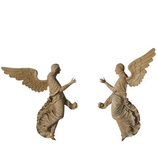 19th Century Wooden Angel Reliefs - a Pair For Sale