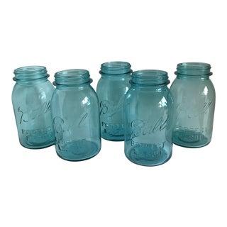 Vintage Blue Mason Jars - Set of 5 For Sale