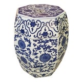 Image of Chinese Hand Painted Blue and White Hexagonal Garden Stool For Sale