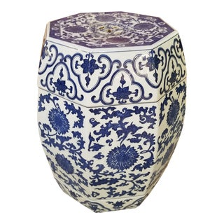 Chinese Hand Painted Blue and White Hexagonal Garden Stool For Sale