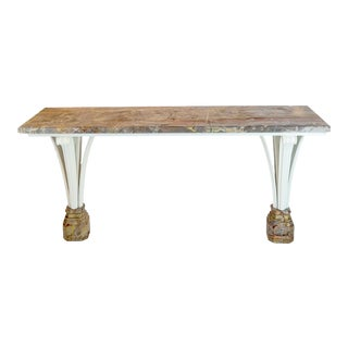 Jansen Carved Wood and Marble Console, Circa 1940 For Sale