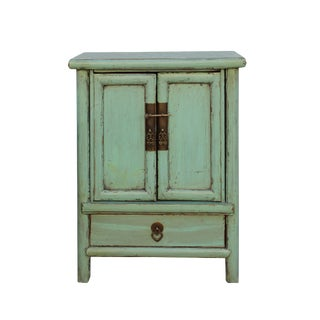 Chinese Rustic Light Pastel Green Hardware End Table Nightstand For Sale