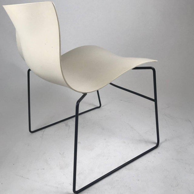 Modern Knoll Massimo Vignelli Handkerchief Stacking Chair in Black & White For Sale - Image 3 of 10