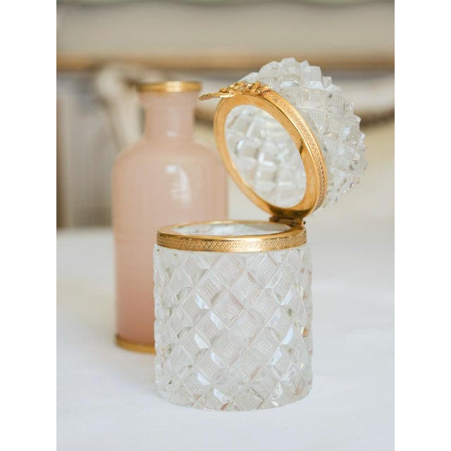 French Antique French Cut Crystal Trinket Box For Sale - Image 3 of 10