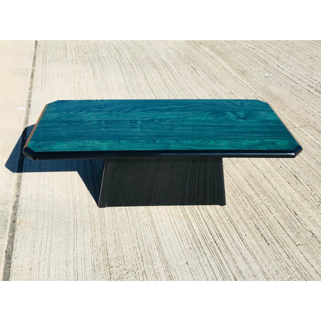 1980s Vintage Wood Coffee Table Malachite Finish For Sale In Dallas - Image 6 of 12