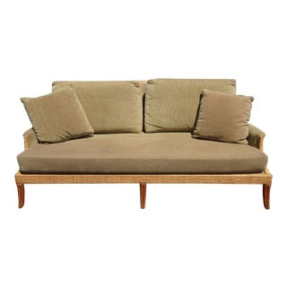 Vintage Mid Century Modern McGuire Sage Green Sofa For Sale