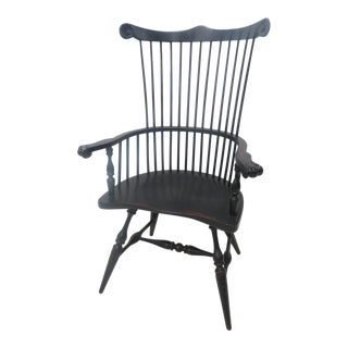 Windsor Comb Back Black Distressed Chair For Sale