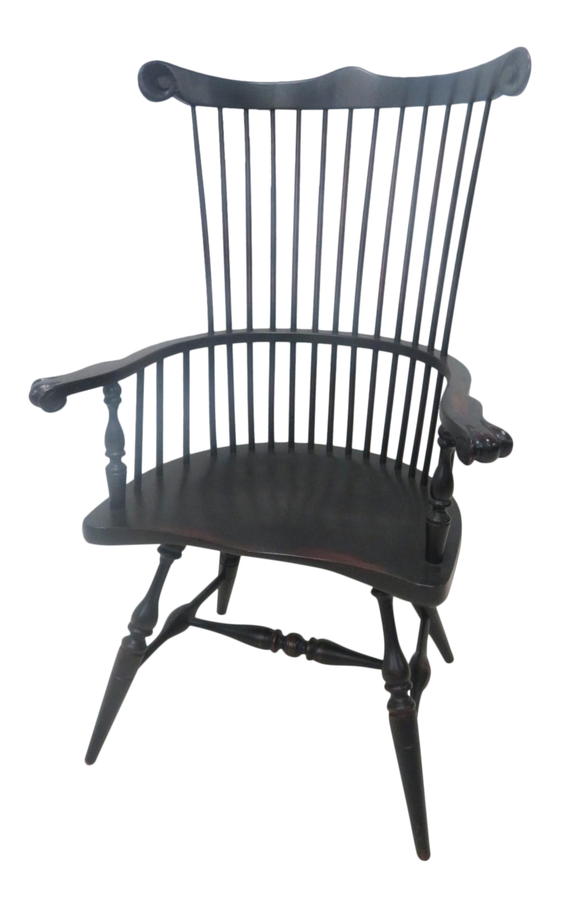 Great Windsor Comb Back Black Distressed Chair