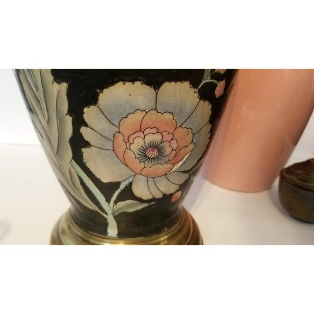 Vintage Asian Black and Pink Floral Porcelain Table Lamp For Sale - Image 9 of 13