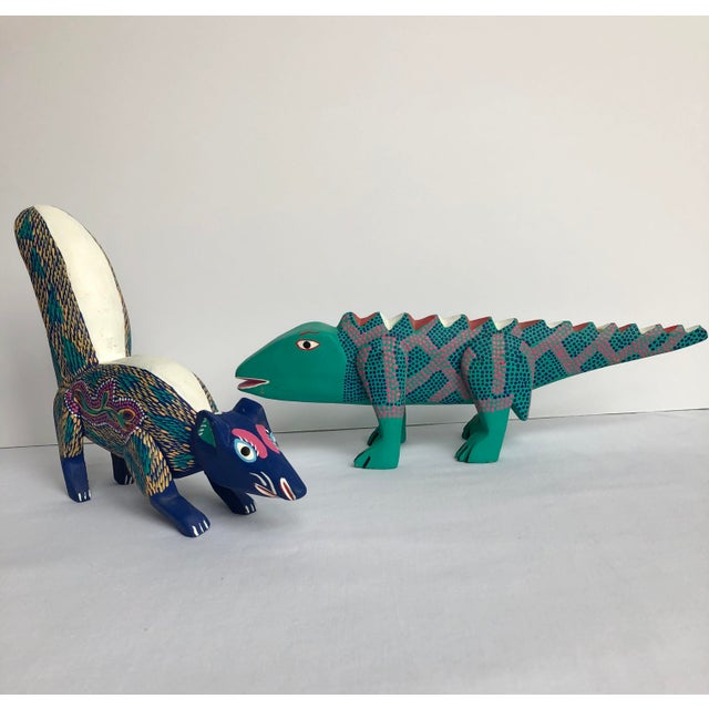 Green Late 20th Century Mexican Folk Art Lizard and Skunk - Set of 2 For Sale - Image 8 of 8